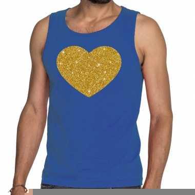 Toppers gouden hart glitter tanktop / mouwloos shirt blauw heren