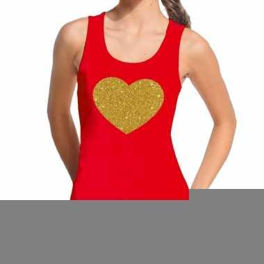 Toppers gouden hart glitter tanktop / mouwloos shirt rood dames