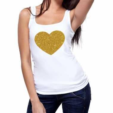 Toppers gouden hart glitter tanktop / mouwloos shirt wit dames