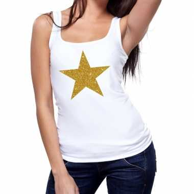 Toppers gouden ster glitter tanktop / mouwloos shirt wit dames