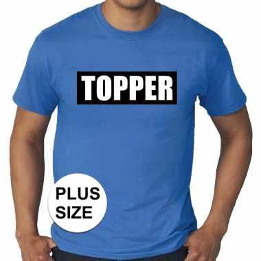 Toppers grote maten topper kader t shirt blauw heren