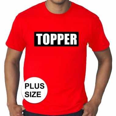 Toppers grote maten topper kader t shirt rood heren