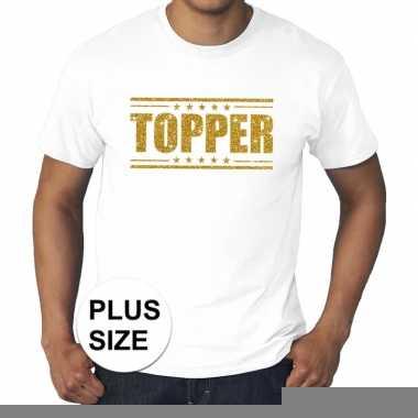 Toppers grote maten topper shirt wit gouden glitters heren