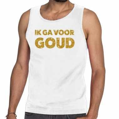 Toppers ik ga goud glitter tanktop / mouwloos shirt wit heren