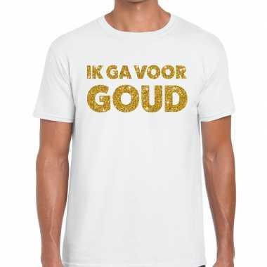 Toppers ik ga goud glitter tekst t shirt wit heren
