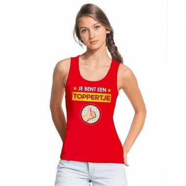 Toppers je bent een toppertje tanktop/ mouwloos shirt rood dames