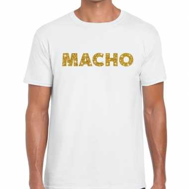 Toppers macho goud glitter tekst t shirt wit heren