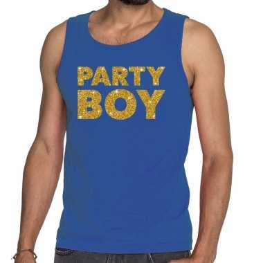 Toppers party boy glitter tanktop / mouwloos shirt blauw heren