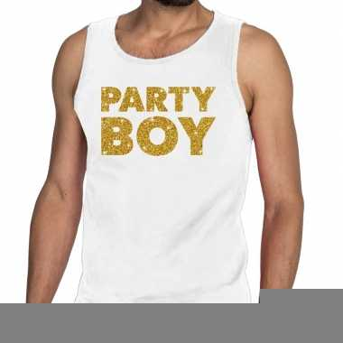 Toppers party boy glitter tanktop / mouwloos shirt wit heren