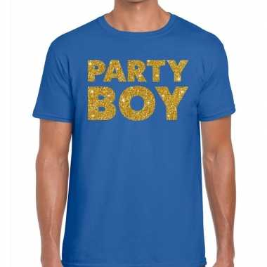 Toppers party boy glitter tekst t shirt blauw heren