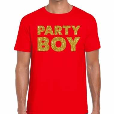 Toppers party boy glitter tekst t shirt rood heren