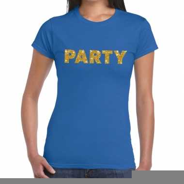 Toppers party goud glitter tekst t shirt blauw dames