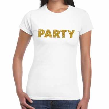 Toppers party goud glitter tekst t shirt wit dames