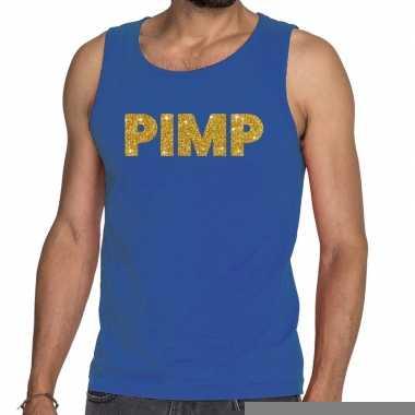 Toppers pimp glitter tanktop / mouwloos shirt blauw heren