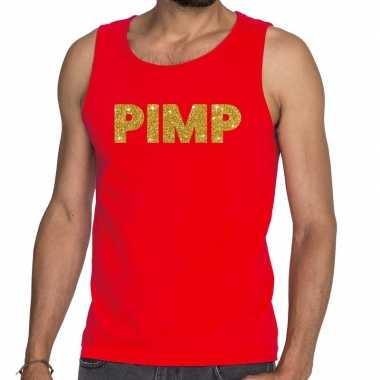 Toppers pimp glitter tanktop / mouwloos shirt rood heren
