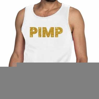 Toppers pimp glitter tanktop / mouwloos shirt wit heren