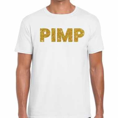 Toppers pimp glitter tekst t shirt wit heren