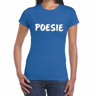 Toppers poesie fun tekst t shirt blauw dames