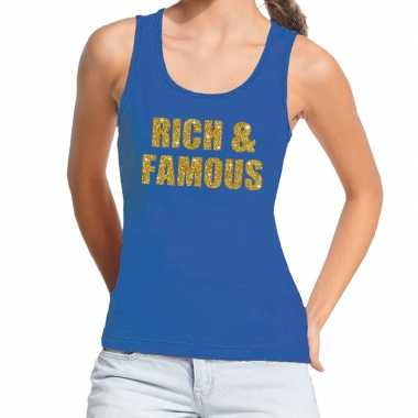 Toppers rich and famous glitter tanktop / mouwloos shirt blauw dames