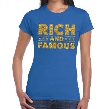 Toppers rich and famous goud glitter tekst t shirt blauw dames