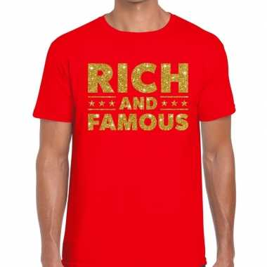 Toppers rich and famous goud glitter tekst t shirt rood heren