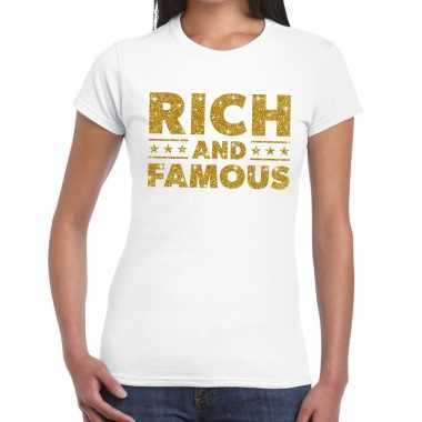 Toppers rich and famous goud glitter tekst t shirt wit dames