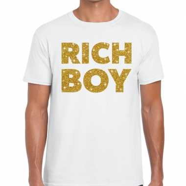 Toppers rich boy goud glitter tekst t shirt wit heren