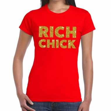 Toppers rich chick goud glitter tekst t shirt rood dames