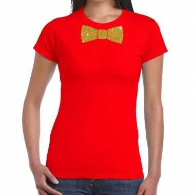 Toppers rood fun t shirt vlinderdas glitter goud dames