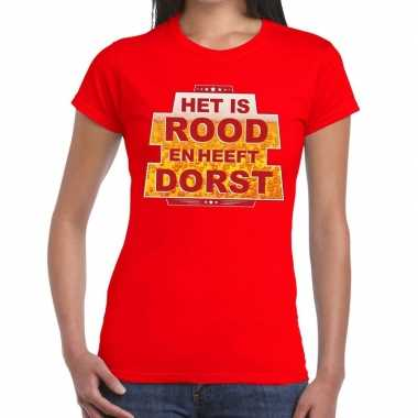 Toppers rood is rood heeft dorst t shirt dames