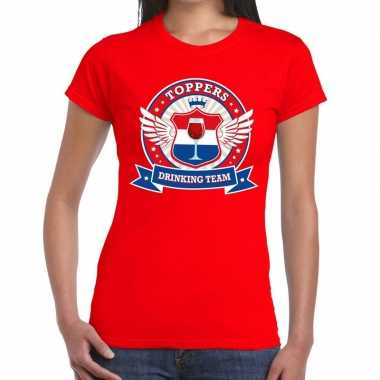 Toppers rood toppers drinking team t shirt dames