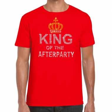 Toppers rood toppers king of the afterparty glitter t shirt heren