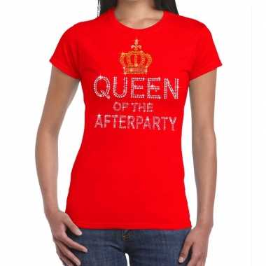 Toppers rood toppers queen of the afterparty glitter t-shirt dames