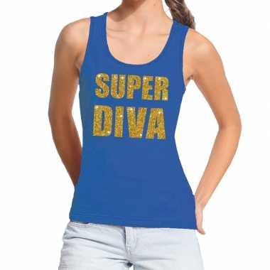 Toppers super diva glitter tanktop / mouwloos shirt blauw dames