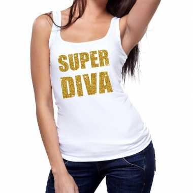 Toppers super diva glitter tanktop / mouwloos shirt wit dames