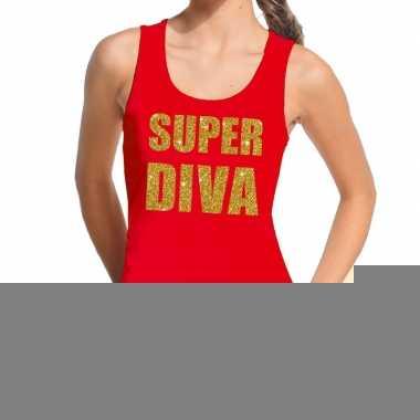 Toppers super diva glitter tekst tanktop / mouwloos shirt rood dames