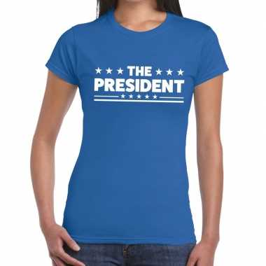 Toppers the president tekst t shirt blauw dames