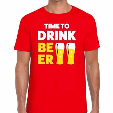 Toppers time to drink beer heren t shirt rood