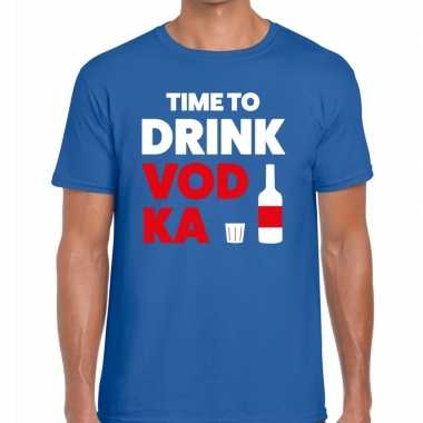 Toppers time to drink vodka heren t shirt blauw