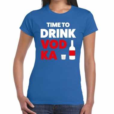 Toppers time to drink vodka tekst t shirt blauw dames