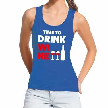 Toppers time to drink wine tekst tanktop / mouwloos shirt blauw dames