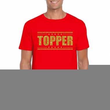Toppers topper t shirt rood gouden glitters heren