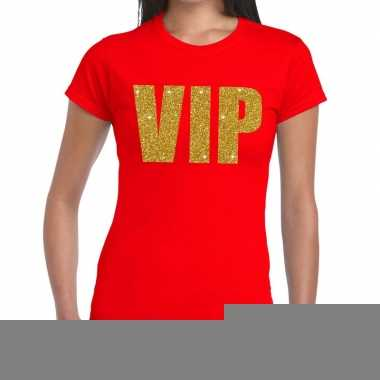 Toppers vip glitter goud tekst t shirt rood dames