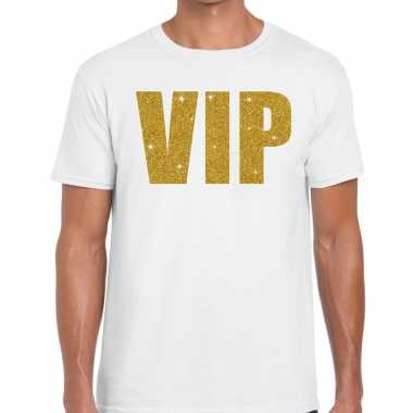 Toppers vip goud glitter tekst t shirt wit heren