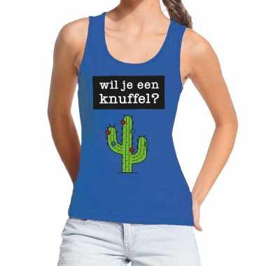Toppers wil je een knuffel tekst tanktop / mouwloos shirt blauw dames