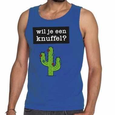 Toppers wil je een knuffel tekst tanktop / mouwloos shirt blauw