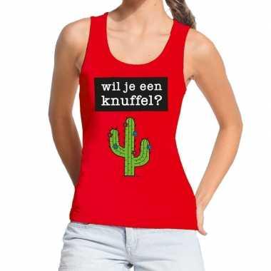 Toppers wil je een knuffel tekst tanktop / mouwloos shirt rood dames