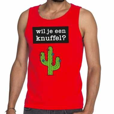 Toppers wil je een knuffel tekst tanktop / mouwloos shirt rood