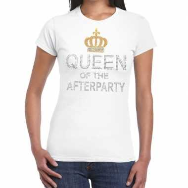 Toppers wit toppers queen of the afterparty glitter t shirt dames