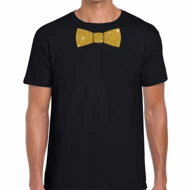 Toppers zwart fun t shirt vlinderdas glitter goud heren